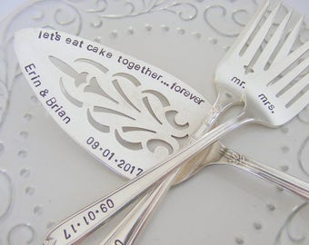 Hand Stamped Wedding Cake Server and Forks Set Wedding Cake Server Cottage Chic