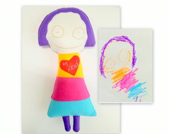 Memory Gift Toy, Custom Toy Kid's Drawing, Personalized Gift for Kids, Felt Soft Doll, Dad Birthday Gift, Christmas Gift, Birthday Present