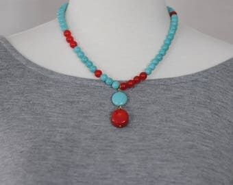 Dangle Necklace, Turquoise and Coral dangle Necklace, Gift for her, Green and Red Necklace, Summer Necklace, beaded necklace