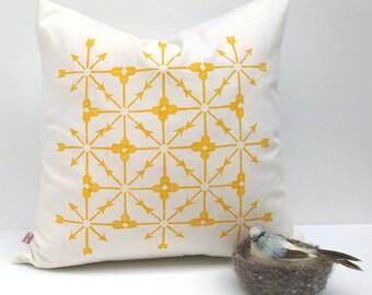 Exploding Arrows Yellow, Cushion Cover - Original Design, Hand Printed Cushion Cover, Organic Cotton, Hemp, Decorative Pillow Cover, Boho