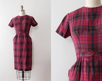vintage 1950s dress // 50s pink purple cotton plaid day dress