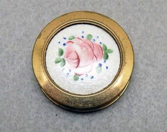 Guilloche Enamel Pill Box, Vintage, 1960s,