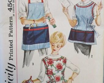 Vintage Cobbler Apron Women Work Apron Men Simplicity Sewing Pattern Potholder Size Small Uncut