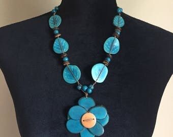 Tagua Necklace/ Flower Tagua Necklace/ Boho Necklace