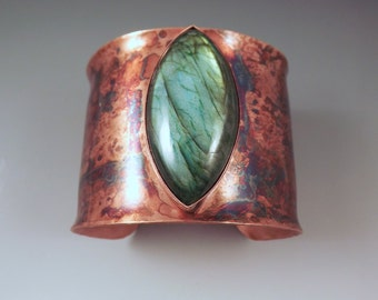 Emerald Labradorite Marquise- Rainbow Swirl Patina- Elegant & Striking- Copper Cuff- RedPaw Original- Statement Bracelet