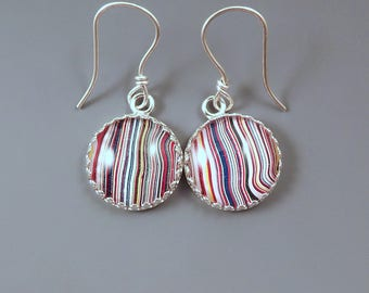 Fordite Earrings- Super Stripes- Detroit Agate- Michigan Made- Sterling Silver Drop Earrings-Larger Size