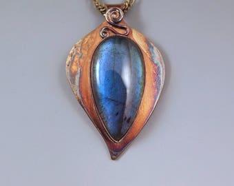 Blue Labradorite- Darling Little Leaf Shape- Rainbow Patina- Abstract Design- Metal Art Pendant- One of a Kind- Labradorite Necklace