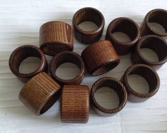 Vintage Wood Napkin Rings.   12 pieces.  Mid century modern, Danish Modern, Eames era. 1960's.