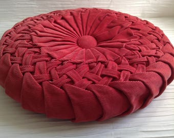 Vintage Smocked Corduroy Pillow. 1960's.  Hollywood Regency, Mid century modern, Danish Modern, Eames Panton era. Coral