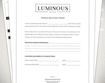 Photography Forms - 6 Essential Contracts and Order Form Templates - Luminous Collection