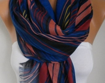 ON SALE --- Royal Blue Line Cotton Scarf,Shawl,Fall Summer Scarf, Cowl Oversized Wrap Gift Ideas For Her, Women Fashion Accessories, Teacher