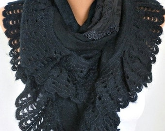 ON SALE --- Black Knitted Scarf Shawl Cowl Lace Oversized Bridesmaid Gift Bridal Accessories Gift Ideas For Her Women Fashion Accessories,We