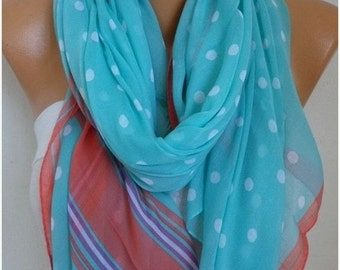 ON SALE --- Cotton Polka Dot Soft Scarf,Teacher Gift, Summer Shawl Wrap Cowl Pareo Gift Ideas for Her Women Fashion Accessories Women Scarve
