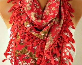ON SALE --- Red Floral Cotton Scarf,fall Winter Scarf,Bohemian,Christmas Gift Cowl Scarf Gift Ideas For Her,for Women's Fashion Accessories
