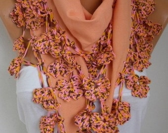 ON SALE --- Apricot Pashmina Scarf,Fall Winter Scarf,Christmas Gift, Shawl,Bohemian, Cotton Cowl Gift Ideas For Her Women Fashion Accessorie