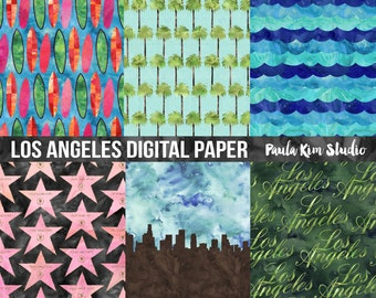 Watercolor Digital Paper, Hollywood Digital Papers Pack, LA Digital Paper Commercial Use