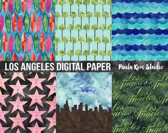 Watercolor Digital Paper, Hollywood Digital Papers Pack, LA Digital Paper Commercial Use