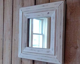 Small Mirror, Wood Mirror, Off White, Distressed, Up Cycled, Rustic Home, Shabby Cottage, Beach Cottage, Farmhouse decor