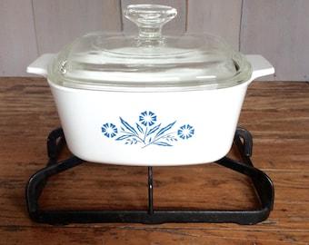 Vintage Corning Casserole Dish / Blue Cornflower Casserole Baking Dish / Casserole with Lid