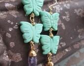 Butterfly earrings - Flutter- pale green amethyst purple spring inspired dangle earrings boho by slashKnots