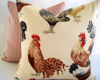 Rooster Pillow Chicken Pillow Hen Pillow Farmhouse Pillow French Country Decor P Kaufmann Pillow