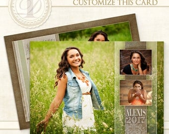 Graduation Invitation, Edited, Senior Girl, Custom Photo Card, Girl Invitation, Photoshop Templates, Templates, Graduation Card - Alexis H