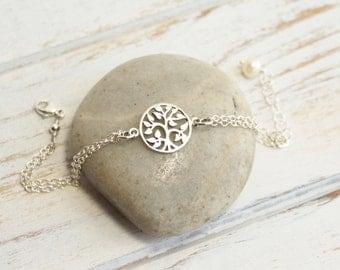 Sterling Silver Family Tree Bracelet -- Tree of Life -- Weddings