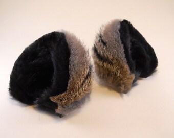 Gray Black Fur and Leather Cat Ears Kitty Kitten Nekomimi Cosplay Furry Goth Fantasy Costume LARP Pet Play