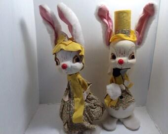 Antique large Mr and Mrs bunny rabbit, made in Japan, vintage Easter decor