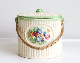 Vintage Biscuit Jar Cracker Jar With Handle Japan Pottery Cookie Jar