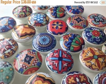 2017 sale 6 Knobs Drawer knobs pulls hand decorated (decoupaged) wooden drawer knobs; Talavera design  1 1/2 inches