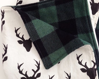 Baby Blanket, Toddler Blanket, Stag Blanket, Buck Forest Blanket, Hello Bear, Buffalo Plaid Blanket, Fleece Blanket, Lumberjack