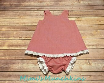 Designer Kids Clothes, Red Gingham Sundress, Size 18m, Baby Summer Dress, Beach Dress, Birthday, Little Girl's Dress, Ready to Ship