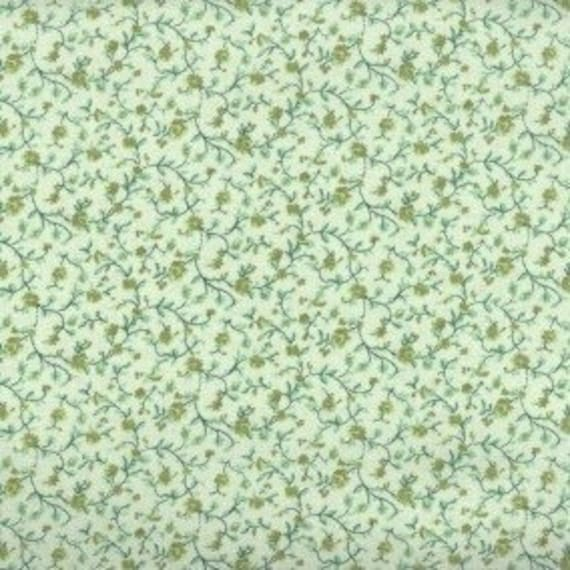 Mint green flower fabric,Small flower fabric,Calico cotton fabric,Lightweight,Reproduction fabric,100% cotton,Sold by FAT QUARTER INCREMENTS