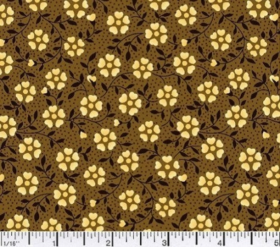 Brown flower fabric,Brown tone on tone fabric,Reproduction fabric,Dark brown floral fabric,100% cotton fabric,Sold by FAT QUARTER INCREMENTS