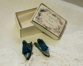 Miniature oriental slippers  - Babouches -turquoise brocade silk