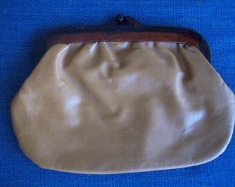 Tan Leather Clutch Lucite Closure, Made in Italy