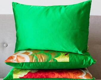 "Emerald Green Silk Pillow, Rectangular Cushion 12x18"" Vintage Japanese Silk Limited Edition Upcycled Obi Kimono Fabric, Oblong Feather Pad"