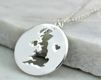 Silver plated map of Britain necklace