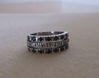 Black onyx and white topaz sterling silver ring size 8/womens black onyx and white topaz triple row band ring/white topaz and black onyx rin