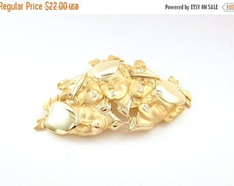ON SALE Vintage Figural Brooch - 5 Ladies in Hats  - Huge Gold Tone Women / Female Pin