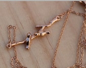 Rose Gold Birds on Twig Necklace
