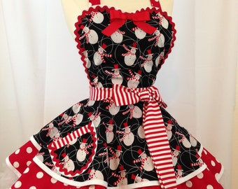 Snowmen Diner Pinup Apron in Red, black and White, Ready To Ship, Woman's Apron