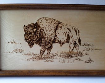 Buffalo wood burning art, pyrography, western decor, wood wall art