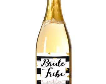 Custom Bridesmaid gift - champagne bottle label - Bride Tribe label - Bridesmaid proposal bottle label Bridesmaid wine bottle label