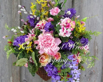 Spring Wreath, Floral Wall Bouquet, Easter Wreath, Country French Wreath, Designer Wreath, Victorian Floral Wall Basket, Garden Wreath