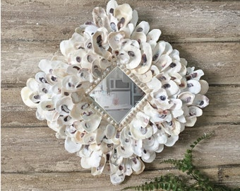 Oyster Shell Mirror, Shell Mirror, Seashell Mirror, Beach Decor, Coastal Decor, Nautical Decor Beach Wedding Gift Small Mirror Accent Mirror