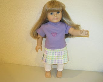 """18"""" tee shirt and skirt doll clothes to fit American Girl Dolls"""