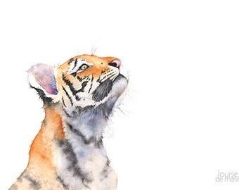 Tiger Cub print of watercolor painting, TC21517, A4 size, Tiger print, Tiger watercolor, baby tiger print, baby animal print,