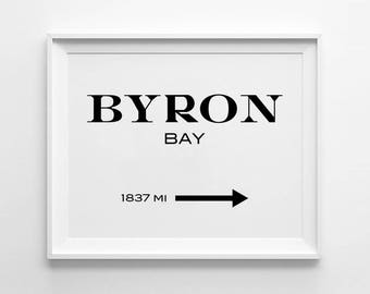 Byron Bay Print, Typography Wall Decors, Motivational Prints, Minimalist, Black and White, Gossip Girl